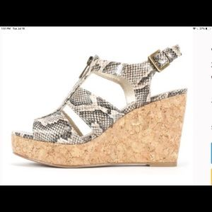 White mountain animal print cork wedge